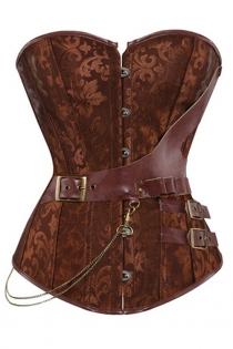 Brown Jacquard Gothic Corset Steampunk Faux Leather Chains Bustier Waist Sliming Plus Size S-6XL
