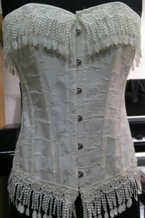 Ritzy Tie-Laces White Corset Top With Beaded Fringe and Lace Trim
