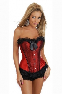Red Corset With Black Polka Dot Lace Overlay in Front Panels, Ruffle and Bow, Front Busk