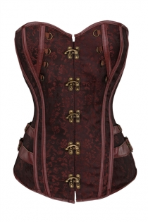Plus Size Brown Brocade Gothic Corset Tops Overbust Bustiers With Front Buckles
