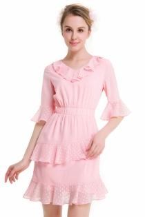 Sweet Pink Chiffon Ruffled Dress Fashion V-Neck Flare Sleeve Dress