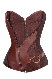 Plus Size Brown Gothic Steampunk Corset Tops Overbust Corset Training With Front Zipper