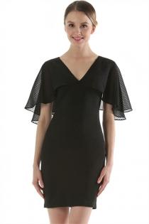 Black Ladies Dress Cape Shoulder Slim Thin Package Hip Short Dress