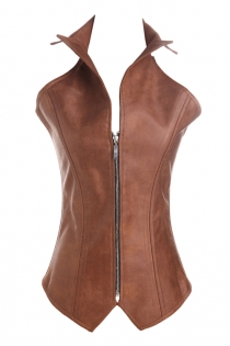 Brown 16 Steel Boned Leather Overbust Corset with Windbreaker Collar, Lace-up Back