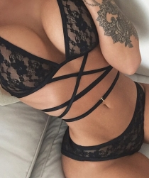 Black Floral Lace Bralette With Matching Panties