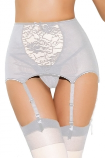 Playful White Sheer Floral Lace Waist Line Tempting Hook Strap Stocking Intimate Accessory With G-string