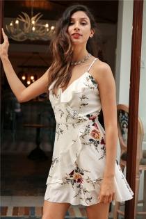 A-line ruffles floral print summer dress women Deep v neck backless bandage sexy dress Casual party short dress