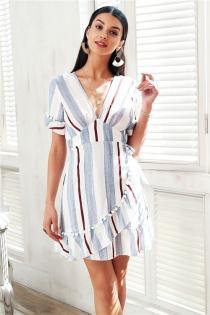 V neck stripe ruffle summer dress women Wrap style cotton short dress 2018 Streetwear casual dress female vestidos