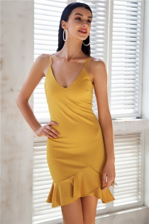 Sexy v neck ruffle strap mini dress women Skinny black mermaid dress 2018 Summer dress bodycon party vestido