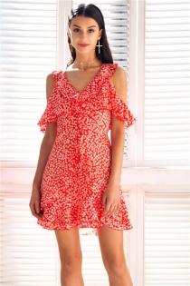 V neck floral print mini dress Ruffle frill strap short summer dress Sexy backless tie up beach vestido de festa