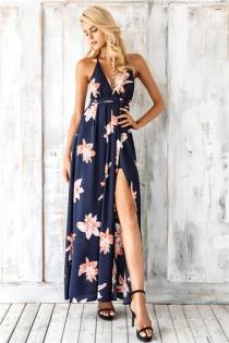 Boho deep v neck backless sexy dress Split cross lace up chiffon summer beach long dress Sleeveless maxi dress vestidos