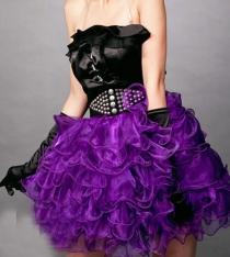 Purple Ballet Ballerina Tutu With Sheer Purple Ruffled LayePurple Skirt and Purple Satin Elastic Waistband