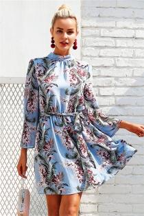 Backless lace up summer dress women Flare sleeve floral print chiffon dress Beach casual short dress robe femme 2018