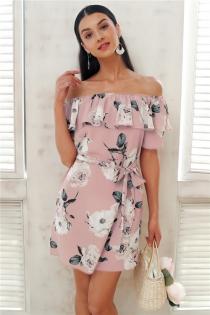 Ruffle off shoulder summer dress women Sash flower print short dress Casual beach boho dress female vestidos 2018