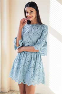 Cotton lace embroidery mini dress women Button ruffle sleeve causal white dress Spring hollow out short dress vestidos