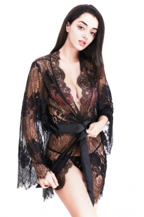 Sexy Black Eyelash Lace Long Sleeve Cardigan Slip Plus Size Pajamas Robe