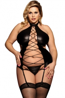 Sexy Plus Size Black PVC Teddy Lingerie With Garters