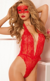 Sexy Red Lace Temptation Teddy Lingerie set With Eye Mask