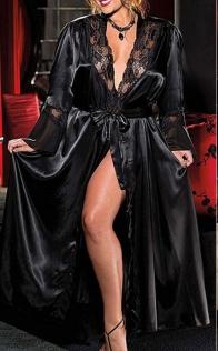 Sexy black silk bathrobe nightgown women's long dress