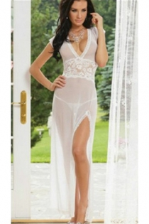 Sexy white lingerie tulle sexy uniform temptation transparent mesh nightdress
