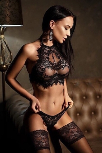 Black lace sexy perspective bra with panties set