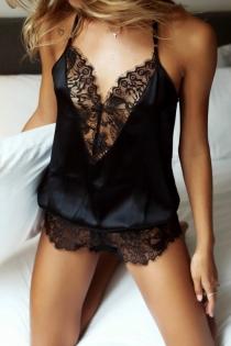 Black Sexy V-neck lace stitching suspender jumpsuit