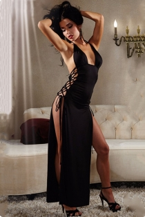 Sexy perspective view style lacing long black nightgown