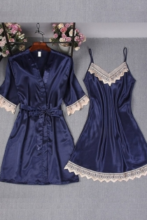 Sexy royal blue ice silk strap nightdress robe with babydoll 2 pieces set