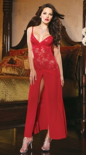 Red lace temptation sexy pajamas large size perspective strap nightdress