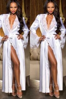 Sexy Bridal white silk bathrobe nightgown women's long dress wedding night gown