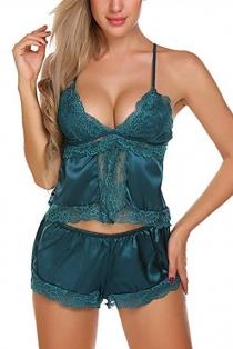 Sexy Green Silk Lace Trim Sling Pajama Shorts Set
