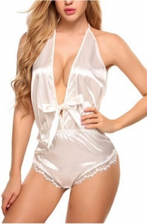 White Hollow lace one piece plus size ladies sexy V-neck backless fun one-piece underwear