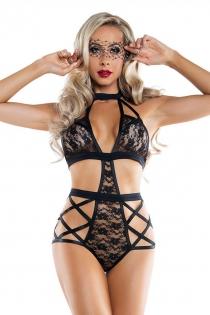 Sexy black lace halter teddy slutty lingerie