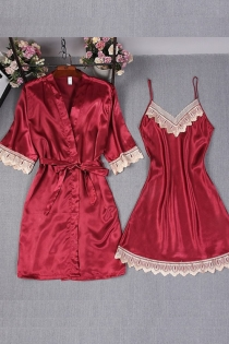 Sexy red ice silk strap nightdress robe with babydoll 2 pieces set