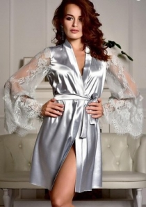 Light Grey Perspective long-sleeved lace imitation ice silk gown