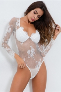 White long sleeve fishnet mesh transparent jumpsuit