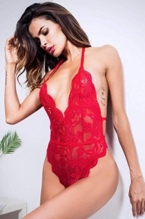 Amazon explosion sexy red floral lace teddy sexy lingerie
