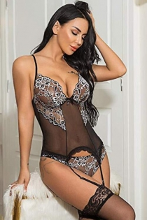 Black mesh perspective one piece sexy lingerie with Garters