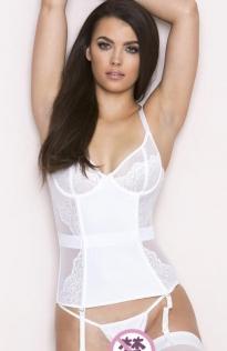 Sexy white suspender waistcoat lingerie suit