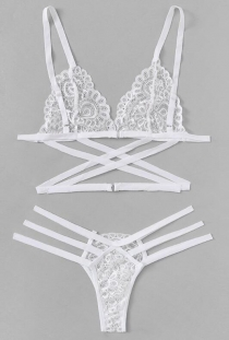 White criss cross lace bra & panties set