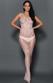 White Bow Front Crotchless Fishnet Bodystocking