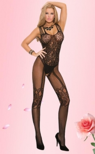 Black Bow Front Crotchless Fishnet Bodystocking