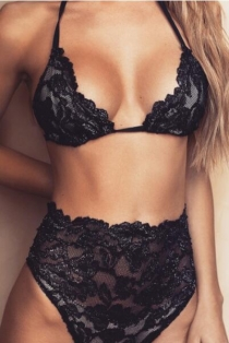 Charming Black Lace Bralette With Panties Set
