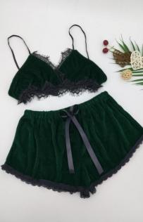 Green Bralette With Panties Set