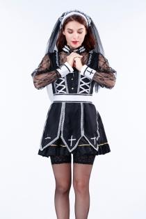 Japanese hot style nun fancy dress with veil dress, belt, neck decoration, long sleeve blouse and cross necklace