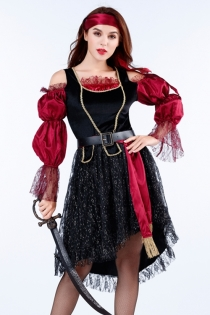 Classic ladies pirate costume with turban, pirate dress, belt, Prop knife
