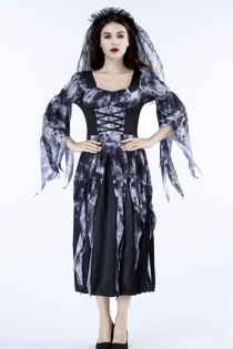 Halloween Crow Bride Fancy Dress with lace veil and dress