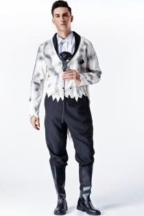 Halloween ghost groom fancy dress with jacket, shirt, brooch, pants