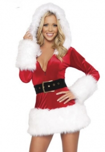Red Christmas Dress With White Fur Trim