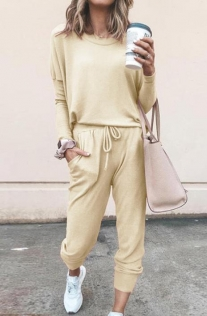 Loose solid Khaki color long-sleeved casual suit